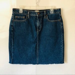 J. Crew | Medium Wash Raw Hem Denim Skirt
